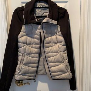 MK Zip Front Down Quilted Jkt Knit Sleeves